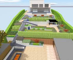 contemporary sloping garden design in guildford surrey with