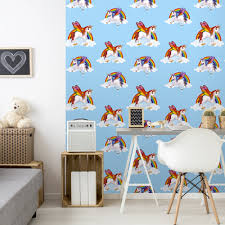 wallpapers for kids bedroom rainbow unicorn pattern childrens wallpaper magic cloud horse