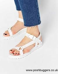 cheap women asos farrar camping style flat sandals white size