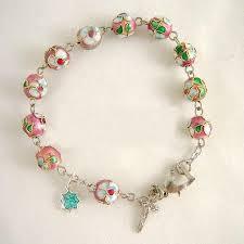 rosary bead bracelet cloisonne pink bracelet rosary cross elegantmedical on