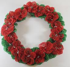flower wreath and green wreath for christmas