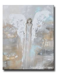 Painting Home Decor by Giclee Print Abstract Angel Painting Modern Gallery Wall Art Blue