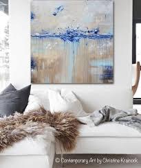 Blue White Gray Bedroom Original Art Abstract Painting Navy Blue White Grey Coastal Wall