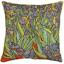 Cushion Covers For Sofa Pillows by Irises Inspired Van Gogh Throw Pillow Cover Hand Embroidered 18 U2033 X