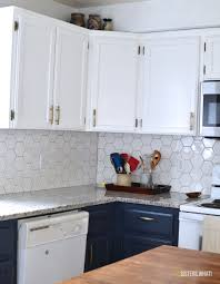 a two toned diy kitchen remodel with hexagon tiles sisters what