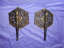vintage homco home interior pair gold u0026 blk ornate wall single arm