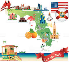 Florida Map Orlando by Cartoon Map Of Florida Stock Vector Art 467107162 Istock