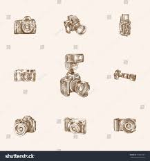 hand drawn camera sketches set collection stock vector 719631907
