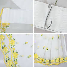 embroidered yellow small flowers roman bland sheer curtains for
