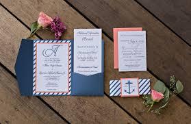 navy coral nautical wedding invitations sko designs