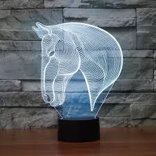 horse head 3d illusion lamp koreyoshi 7 color change night light