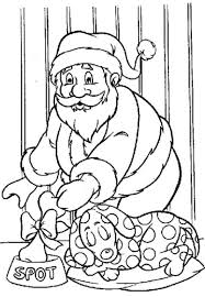 santa gives a bone for bumps christmas coloring pages printable