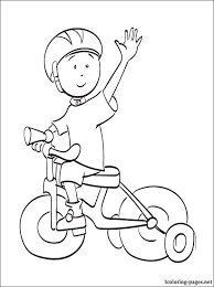 caillou riding a bike coloring page coloring pages