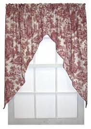 Toile Window Valances Victoria Park Toile Print Lined Scallop Valance Window Curtain