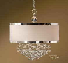 Linen Pendant Light Pendants Chandelier With White Shade Hanging Drum Shade