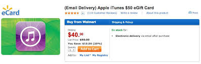 gift cards email walmart selling 50 itunes gift cards for 40 with instant email