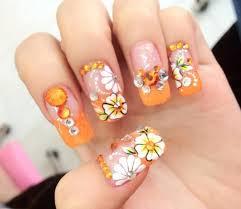 orange flower nail art ideas