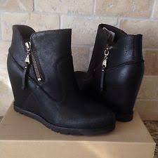 womens ugg leather ankle boots ugg myrna black leather sheepskin wedge ankle boots booties womens