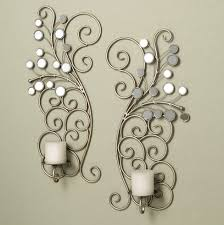 Candle Wall Sconces For Living Room Mirrored Candle Sconces Set With Candle Pillars For Decorative