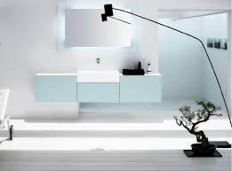 white wall paint decoration in modern bathroom design ideawith arc