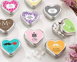 personalized wedding favors heart shaped mint tin personalized wedding favors by kate aspen