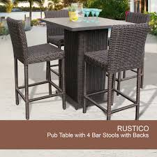 Wicker Patio Table Set Outdoor 5 Pub Table Set Wicker Pub Table And Chairs