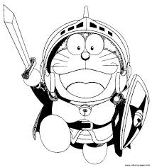 doraemon warrior cartoon s3566 coloring pages printable