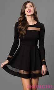 Black Homecoming Dresses With Sleeves Long Sleeve Short Black Dress Promgirl