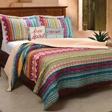 Tribal Duvet Cover Tribal Flair Multicolored Striped Quilt Set