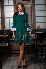 inpuff rochii rochie verde eleganta cu accesoriu la gat