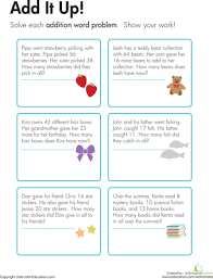 addition word problems add it up word problems worksheets and