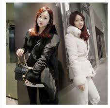 korean fashion winter coat women fur collar casual down jacket