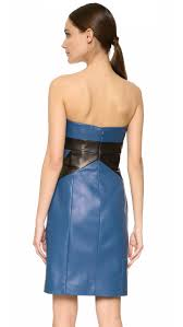j mendel leather bustier dress in blue lyst