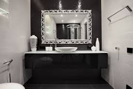 Framed Bathroom Mirrors Ideas Bathroom Carved Silver Framed Mirror With Chrome Tone For