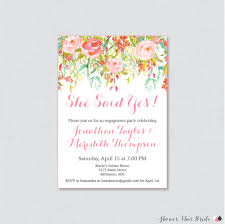 pink floral engagement party invitation printable or printed