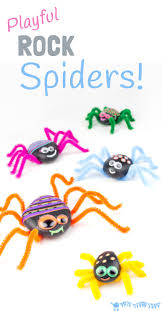 fun halloween songs playful rock spider craft imaginative play spider and nature crafts