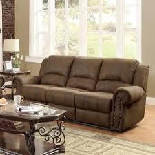 Chenille Reclining Sofa by Nailhead Sofas You U0027ll Love Wayfair