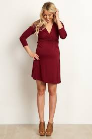 sleeve wrap dress burgundy 3 4 sleeve wrap maternity nursing dress