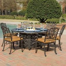 7 Piece Aluminum Patio Dining Set - evangeline 7 piece cast aluminum patio fire pit dining set by