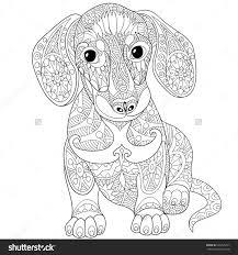zentangle stylized cartoon dachshund dog isolated stock vektor