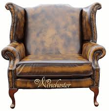 saxon classic chesterfield queen anne high back wing chair antique
