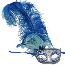 blue masquerade masks venetian mask in london for blue and silver can can feathered