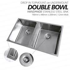round stainless steel kitchen sink 760mm double bowl handmade stainless steel sink with round waste