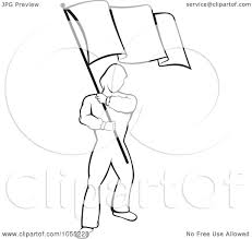 Waving Flag Artist Royalty Free Vector Clip Art Illustration Of A Black And White Man