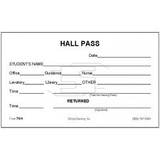 Bathroom Pass Punch Card 79n Hall Pass Padded Forms