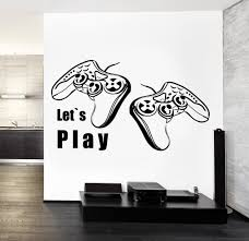 gaming wall vinyl decal wallstickers4you joysticks vinyl decal wall stickerlet s play quote gaming gamer s playroom decor