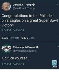Philadelphia Eagles Memes - donald j trump congratulations to the philadel phia eagles on a