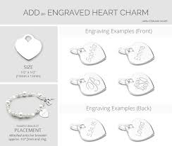 engravable charms silver hearts charm bracelet for