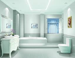blue bathroom decor in lavender bed and bathroom