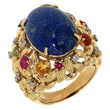sapphires rings images Blue lapis yellow gold dome ring 1960s diamonds sapphires rubies jpg